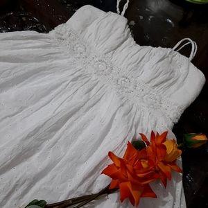 WHITE RARE VINTAGE SCHIFFLI DETAILED SHORT DRESS